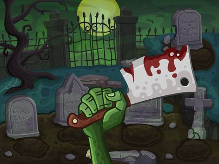 cemetery: Cemetery with zombie hand. Illustration