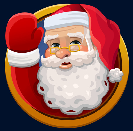 christmas cartoon: Santa waving icon. Vector illustration