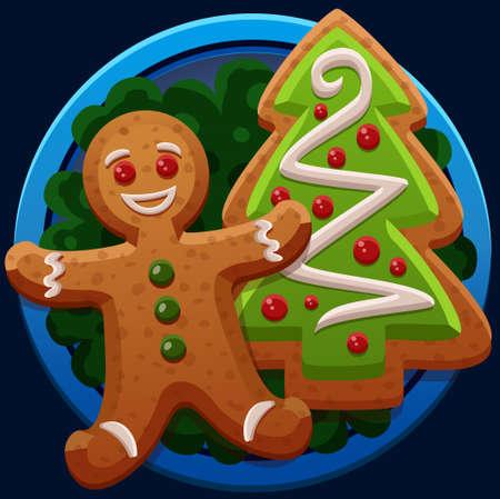 christmas cookies: Christmas cookies icons. Vector illustration