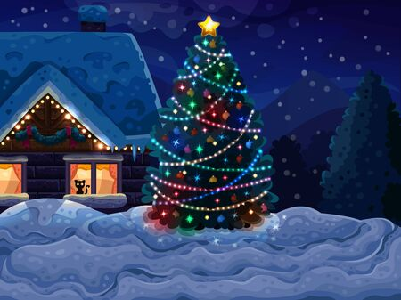 christmas winter: Christmas background with Christmas tree and house. Vector illustration