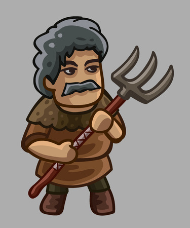 Peasant cartoon character. Vector illustration