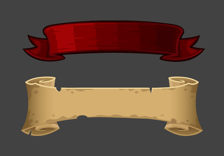 scroll: Isolated banner ribbon and old scroll. Vector illustration
