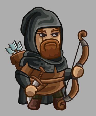 ranger: Medieval game character ranger. Vector illustration Illustration