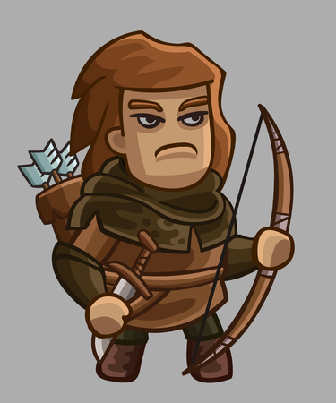 archer: Medieval game character archer. Vector illustration
