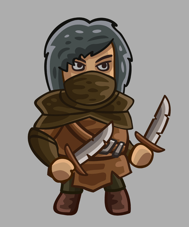 rogue: Medieval game character rogue. Vector illustration Illustration