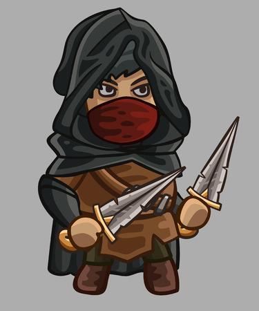 assassin: Medieval game character assassin. Vector illustration