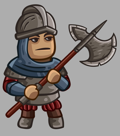 guard: Medieval game character Halberdier. Vector illustration