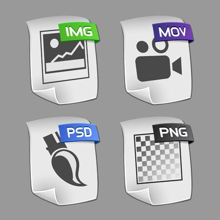 mov: Icons of files Collection. Illustration
