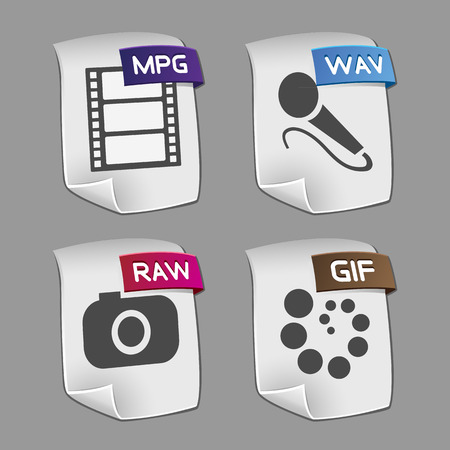 mpg: Icons of files Collection. Illustration