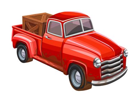 Red truck on white background. Vector illustration