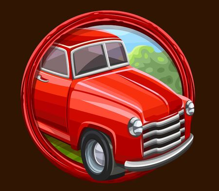 Red truck icon in frame. Vector illustration Illustration
