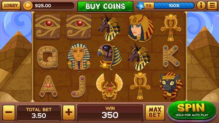 Egyptian background for slots game. Vector illustration