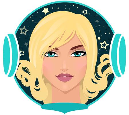 Portrait of beautiful astronaut girl. Isolated on white. Vector illustration Illustration
