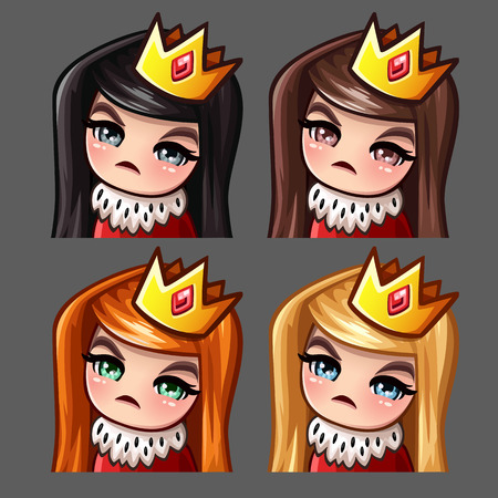 Emotion icons queen female with long hairs for social networks and stickers. Vector illustration Stock Photo
