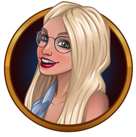 Portrait of beautiful blonde with glasses. Vector illustration