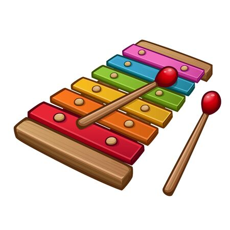 Colorful xylophone with sticks. Isolated on white. Vector illustration