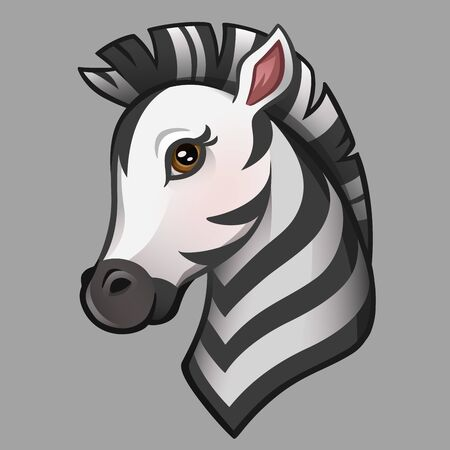 Cartoon cute zebra portrait. Isolated on gray. Vector illustration Illustration