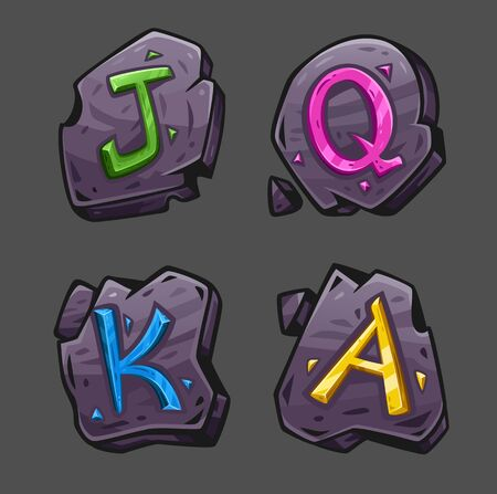 Four stones with colored crystals in the form of letters J Q K A. Vector illustration. Isolated on gray. Can be used for slot games. Ilustração