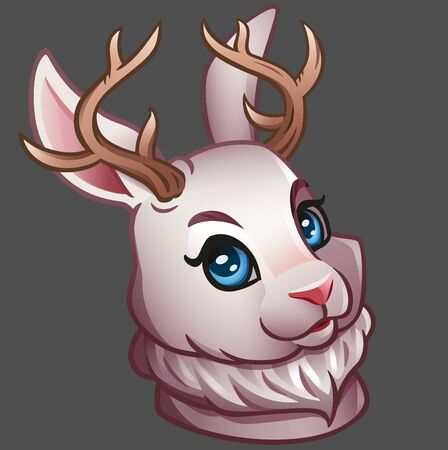 Portrait of a white Jackalope. Vector illustration. Isolated on gray Фото со стока - 130933877
