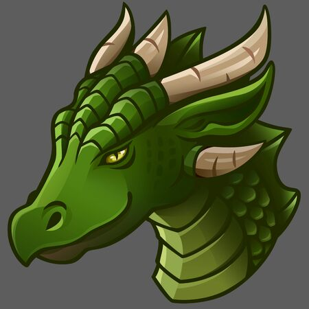 Portrait of green dragon. Vector illustration. Isolated on gray