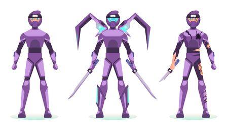character design armor suit robotic ninja ability Çizim