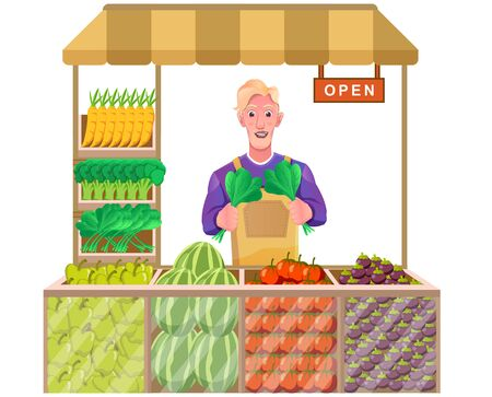 shopkeeper with fresh fruit and vegetables