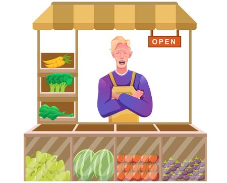 shopkeeper with fruit and vegetables towards the end of stock 일러스트