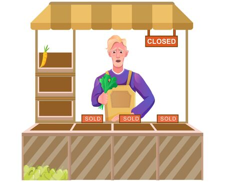 shopkeeper with fruits and vegetables that are about to run out then shows a sad expression