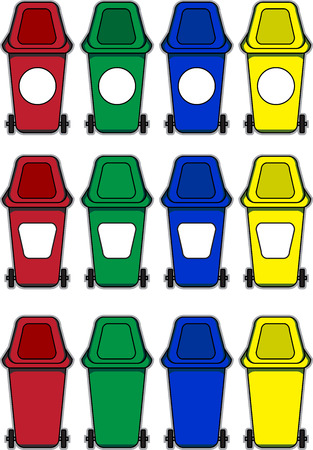 kompost: Reihe von bunten M�lltonnen f�r Illustration auf isolierte