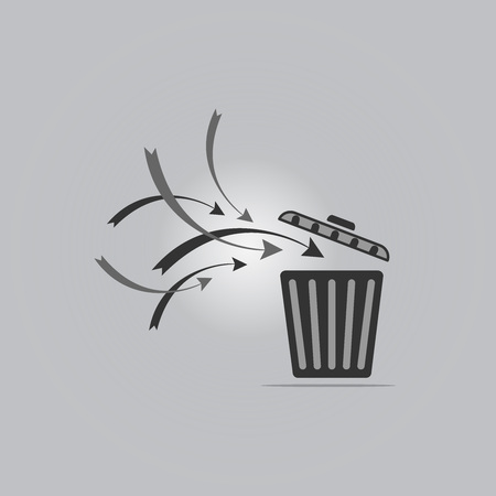 throw away: Trash recycle for left open on gray background Illustration