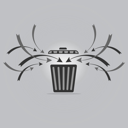 worthless: Trash recycle for Illustration on gray background Illustration