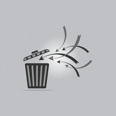 worthless: Recycling bins are open right on a gray background Illustration