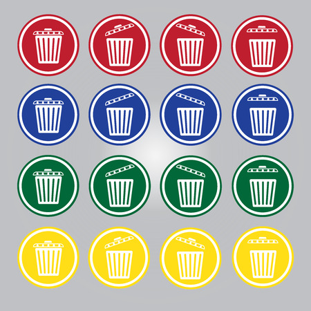 Trash Can Four Color Vector