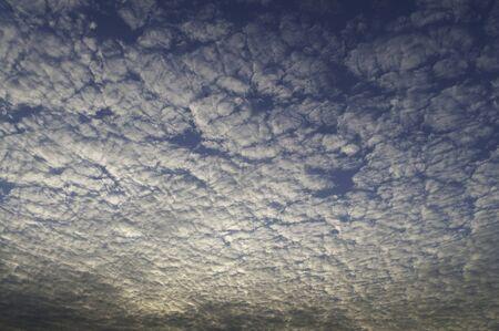altocumulus: Altocumulus cloud, a middle-altitude cloud lighten by the sun rising in the east.