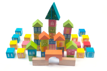 wooden block: Colorful wooden block toy castle