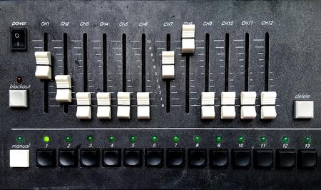 radio dj: Control panel of a sound mixer equipment