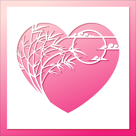 Openwork white heart frame with bamboo bending in wind full moon and clouds. Laser cutting template for greeting cards, wedding invitation, decorative elements.
