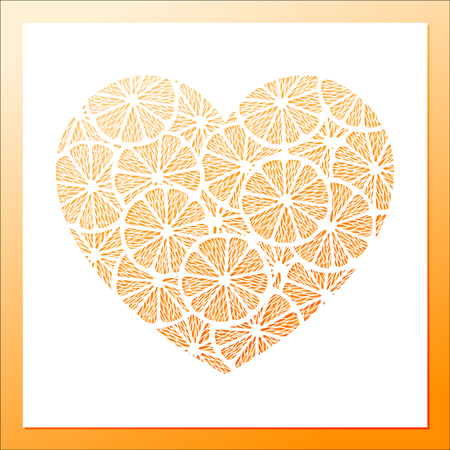 Openwork white heart frame with pile of lemon slices pattern. Laser cutting template for greeting cards, wedding invitation, decorative elements. Illustration