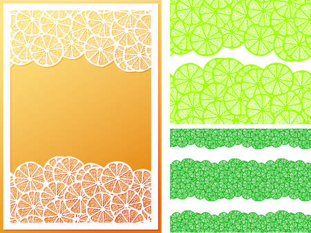 Horizontal seamless lemon slices pattern with example uses and white open work frame suitable for laser cutting. Template for greeting cards, book cover, product label, ads and more. Illustration