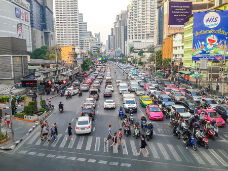 BANGKOK, THAILAND - MARCH 2, 2017: Heavy traffic jam in Asoke junction. Vehicles lined up on street from one to another junction for 1.5 kilometers. Editorial