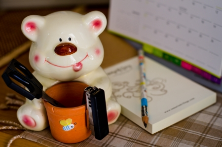 Bear Ceramic Holder 写真素材