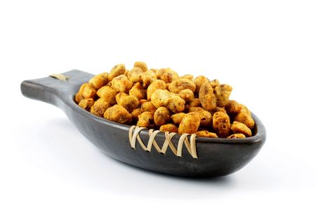 gram: Gram flour coated spicy peanuts in a dish