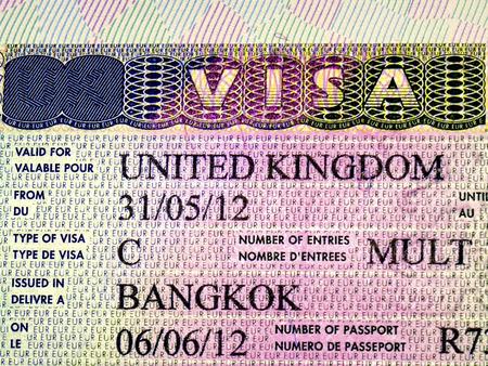 visa approved: Close up UK visa in passport Stock Photo