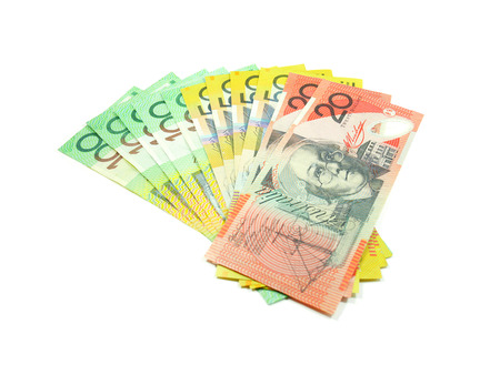 Australian money isolated on white background Stock Photo