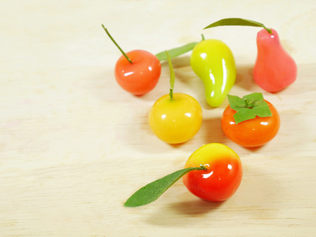 delectable: Delectable imitation fruits or Look choup. Thai dessert. Stock Photo