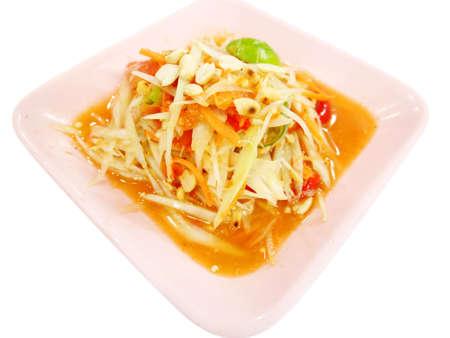 somtum: Green papaya salad or Somtum. Thai food.