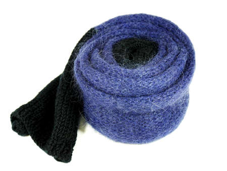 woollen: Blue woollen and mohair scarf isolated on white background Stock Photo