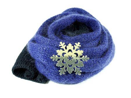 woollen: Snowflake on woollen scarf