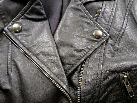 Close up black leather jacket