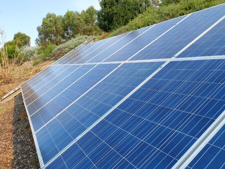 saving electricity: Solar panels in the garden on a sunny day